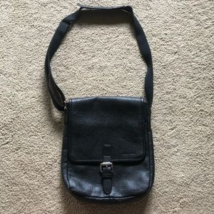 Cole Haan black leather Crossbody bag with buckle